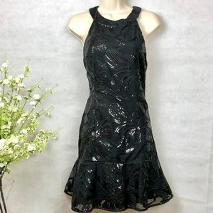GIANNI BINI Black Sequin Cocktail Party Dress, S